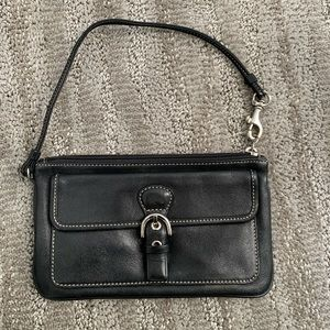 Coach black leather wristlet clutch
